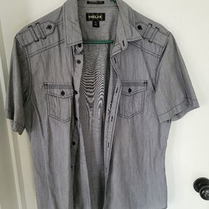 Mens button down grey Helix shirt